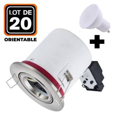 Europalamp Lot 20 Supports Spots BBC Orientable INOX + Ampoule GU10 7W Blanc Neutre + Douille