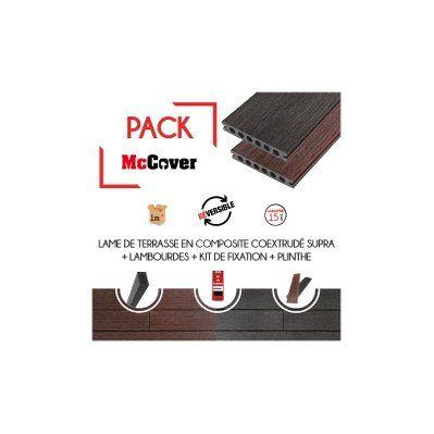 Mccover PACK 1 m² lame de terrasse composite coextrudé Supra avec ACCESSOIRES 3600 x 145 x 23 mm Charbon
