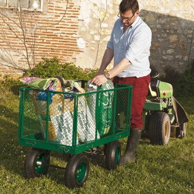 Pratik Garden Chariot de transport Cross Pro 4 roues - 114 x 73 x 52 cm - 300 kg max + bâche