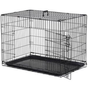 Pawhut Cage caisse de transport pliante pour chien en métal noir 91 x 61 x 67 cm - Pawhut - Publicité