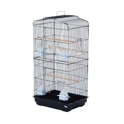 Pawhut Cage à oiseaux volière avec mangeoires perchoirs noir