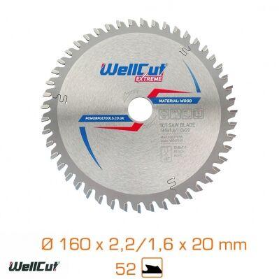 Wellcut Lame de scie coupe standard Extreme - 160 x 2,2/1,6 x 20 mm - 52 dents