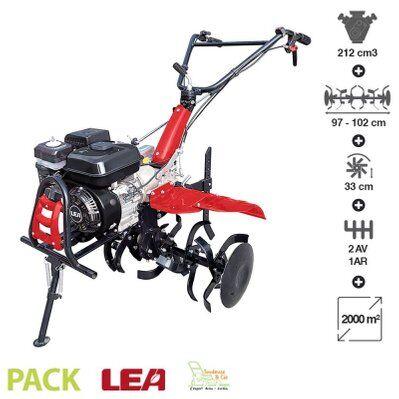 Dunsch – Motoculteur thermique tracté 5,5 Cv travail jusqu'à 102cm 2 vitesses AV – 1 AR guidon ajustable LEA LE42212-97W21