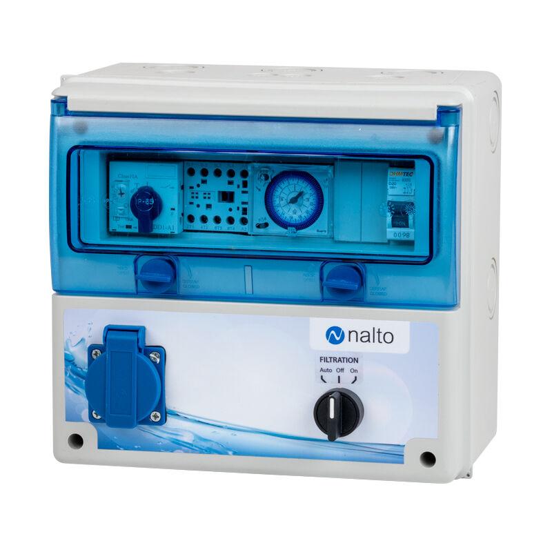 Nalto Coffret Electrique Piscine Filtration - Horloge mécanique - Protection Électrique Pompe à Chaleur - 1 Prise - NALTO