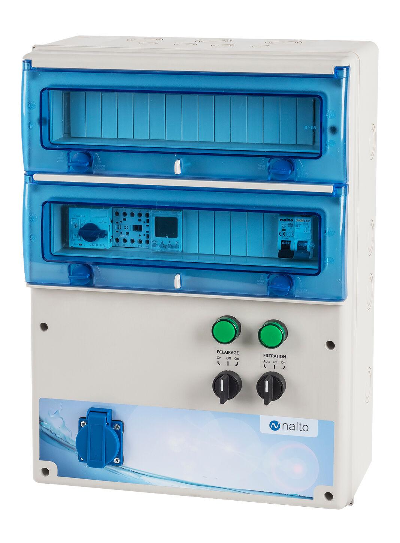 Nalto Coffret Électrique Piscine Filtration - Horloge Electronique - Prise Électrique pour Pompe à Chaleur