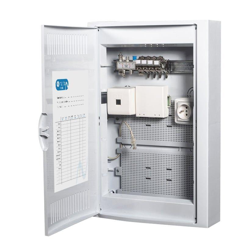 Nalto Coffret de Communication TEL/TV WIFI/ADSL avec 4 connecteurs RJ45 + Arrive fibre optique - GRADE2 NALTO