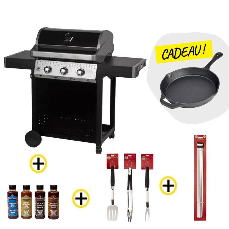 Barbecue gaz ROSTER 3 brûleurs plancha intégrale + Ustensiles + Pics à Brochettes + Sauces + poêle OFFERTE