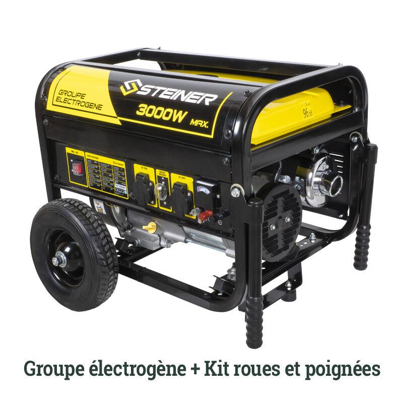 False Pack Groupe Electrogène Essence 208cc 3000W max + Kit roues et poignées de transport