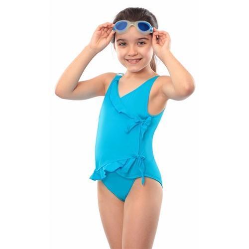 Careserve Maillot de bain incontinence avec rubans - fille - Bleu - 7/8 ans