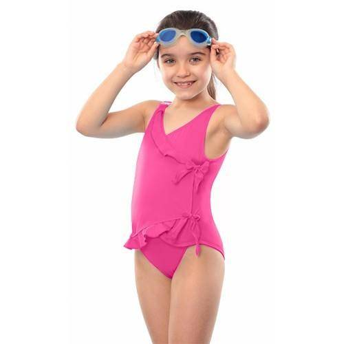 Kes-Vir Maillot de bain incontinence avec rubans - fille - Rose - 5/6 ans