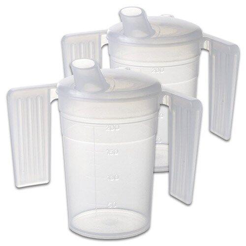 Careserve Verre doseur en plastique avec poignées - Boissons - Lot de 2