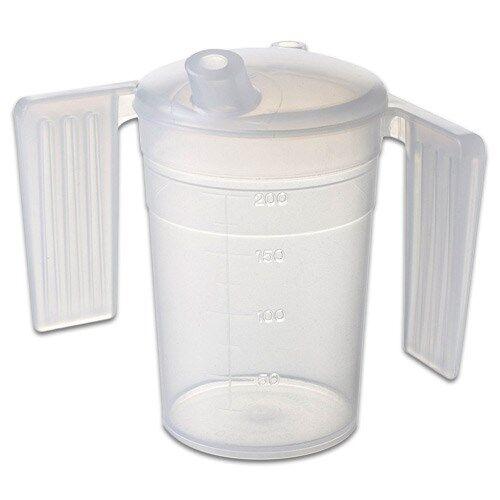 Careserve Verre doseur en plastique avec poignées - Boissons - Lot de 20