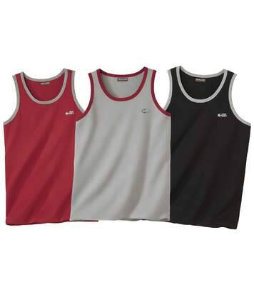 Atlas for Men Lot de 3 Débardeurs Ligne Sport L bordeaux