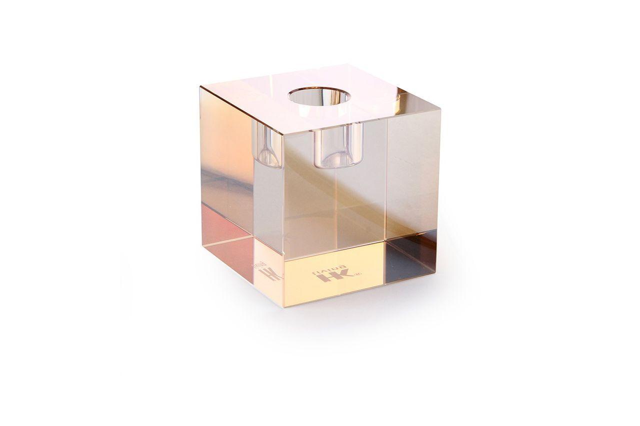 HK Living Bougeoir en verre Cristal cube ambré