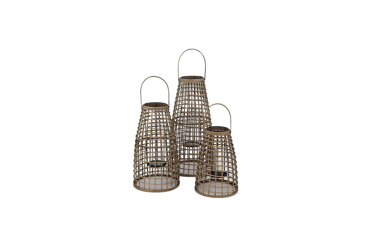 Pomax Set de 3 lanternes Skagen en bambou
