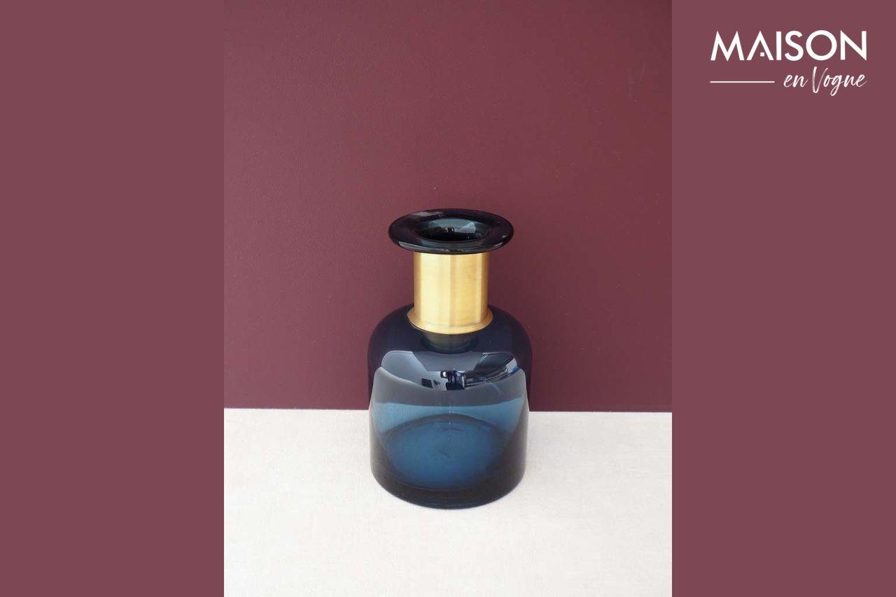 Chehoma Vase bouteille Pharmacie bleue à col doré
