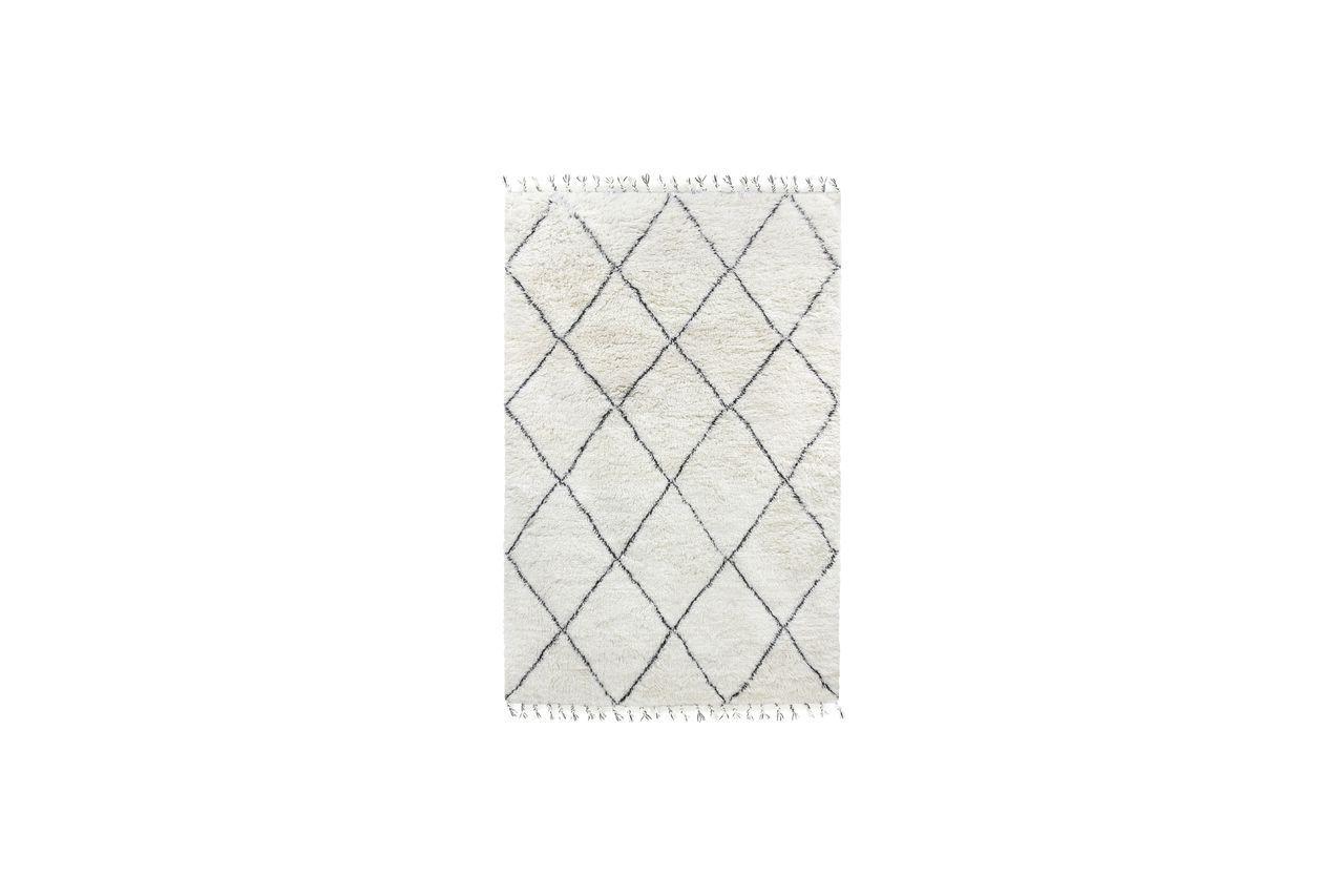 HK Living Tapis berbère Larra en laine noir et blanc 200x300