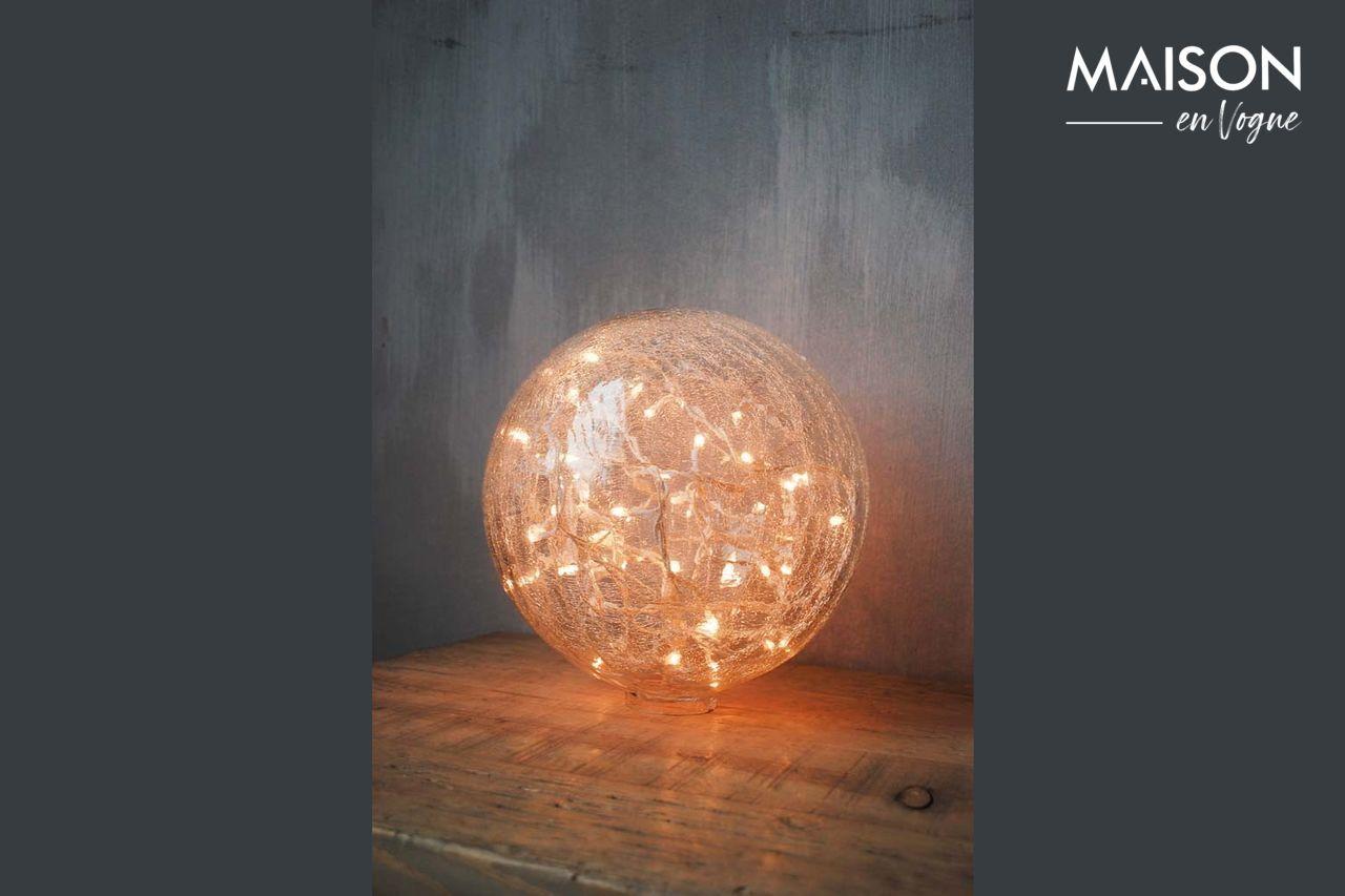 Chehoma Lampe à poser 25 cm boule en verre clair craquelé