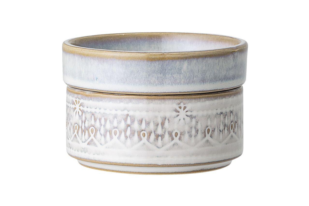 Bloomingville Pot Camélia en grès blanc avec couvercle