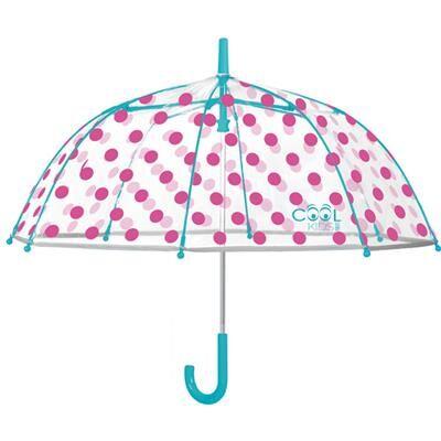 Perletti Parapluie cloche enfant avec bordure phosphorescente - Pois roses