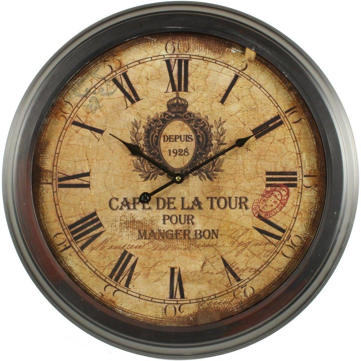 Horloge Ancienne Murale Café De La Tour 58cm - Fer - Marron