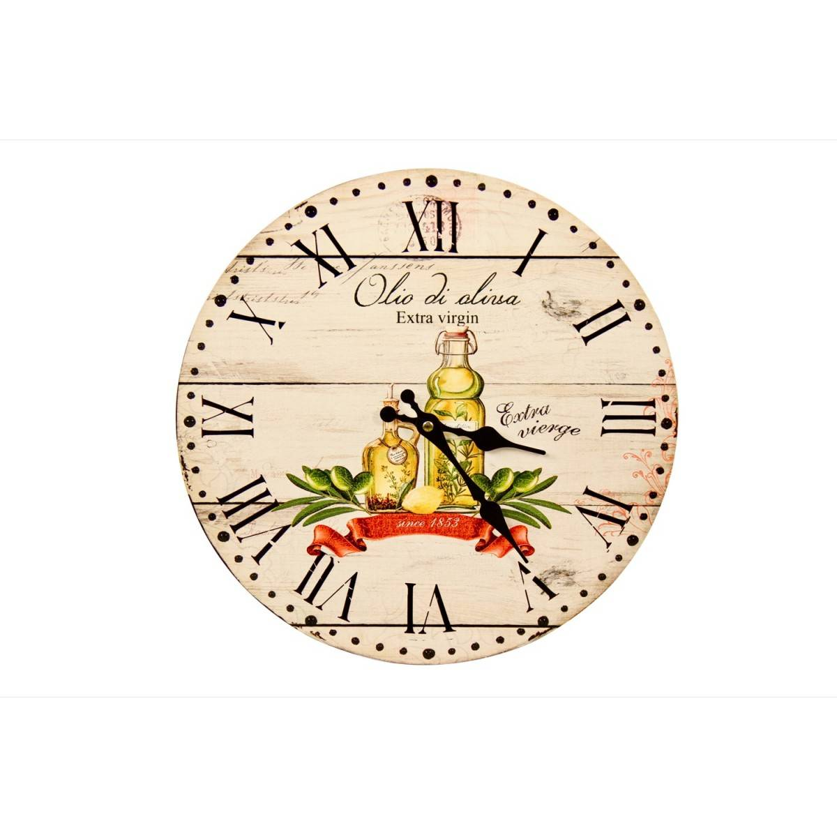 Horloge Ancienne Murale Huile d'Olive 34cm - Bois - Blanc