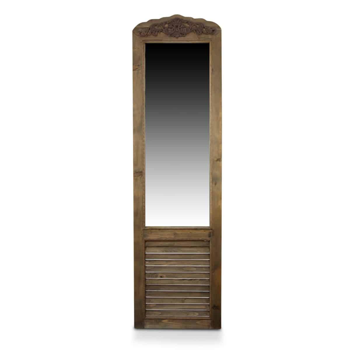 Miroir Ancien Rectangulaire Vertical Sur Pied Bois 48.5x5x170cm - Marron