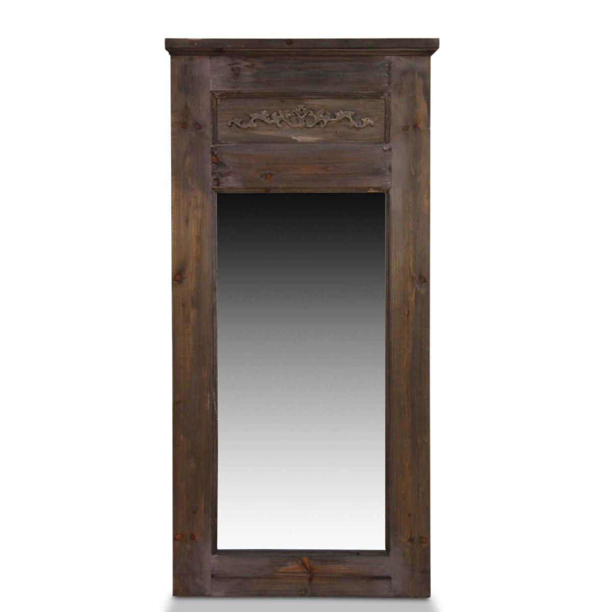Grand Miroir Ancien Rectangulaire Vertical Bois 58x4x118cm - Marron