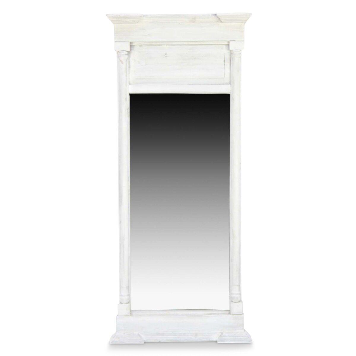 Grand Miroir Ancien Rectangulaire Vertical Bois Cerusé Blanc 59x11x136cm