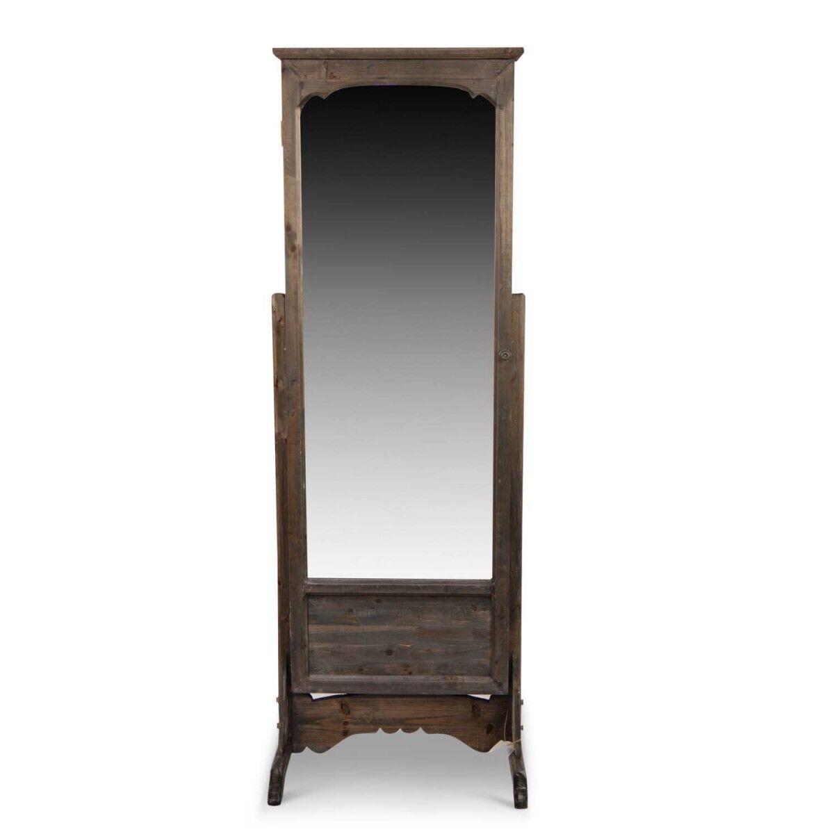 Décoration d'fois Miroir Ancien Rectangulaire Vertical Sur Pied Bois 50x45x146.5cm - Marron