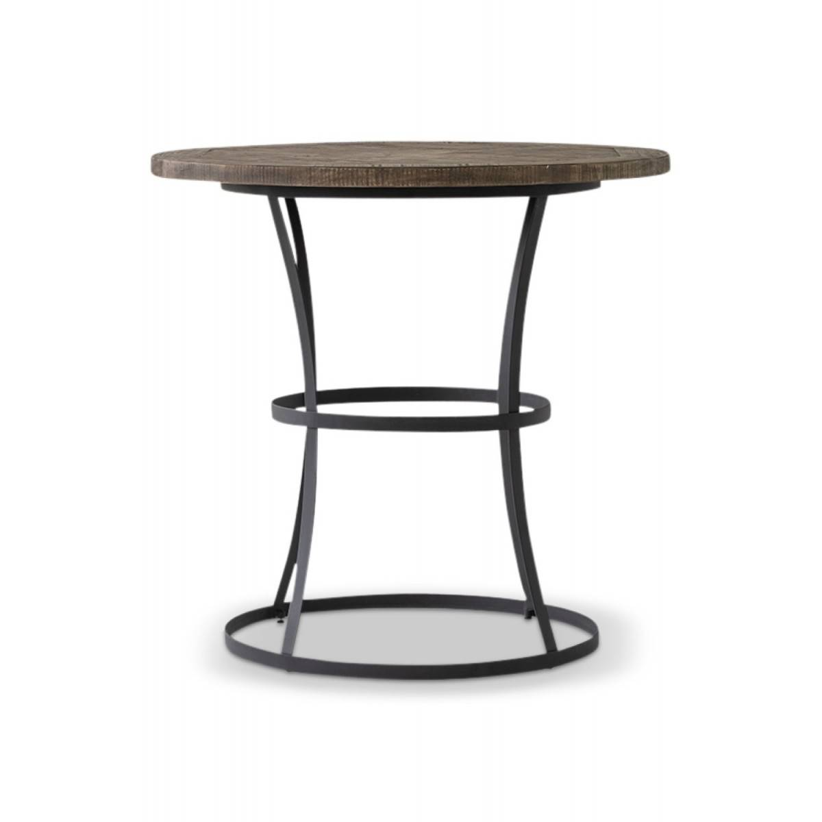 Table Haute Bois Fer Forgé 110x110x105cm - Marron