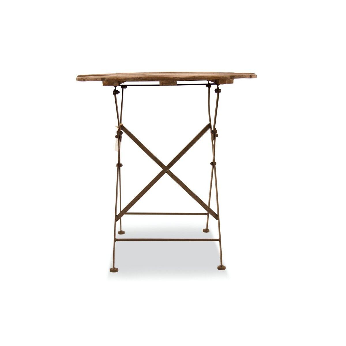 Table Ronde Bois Fer Forgé Marron 70x70x73cm