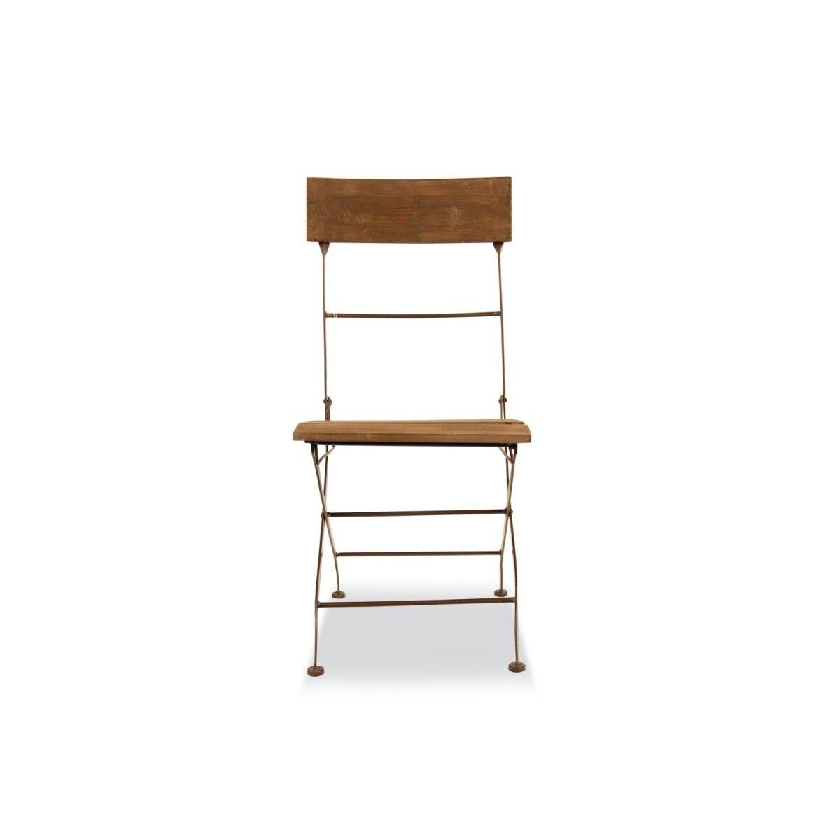 Chaise Bois Fer Forgé Marron 40x50.5x93.5cm