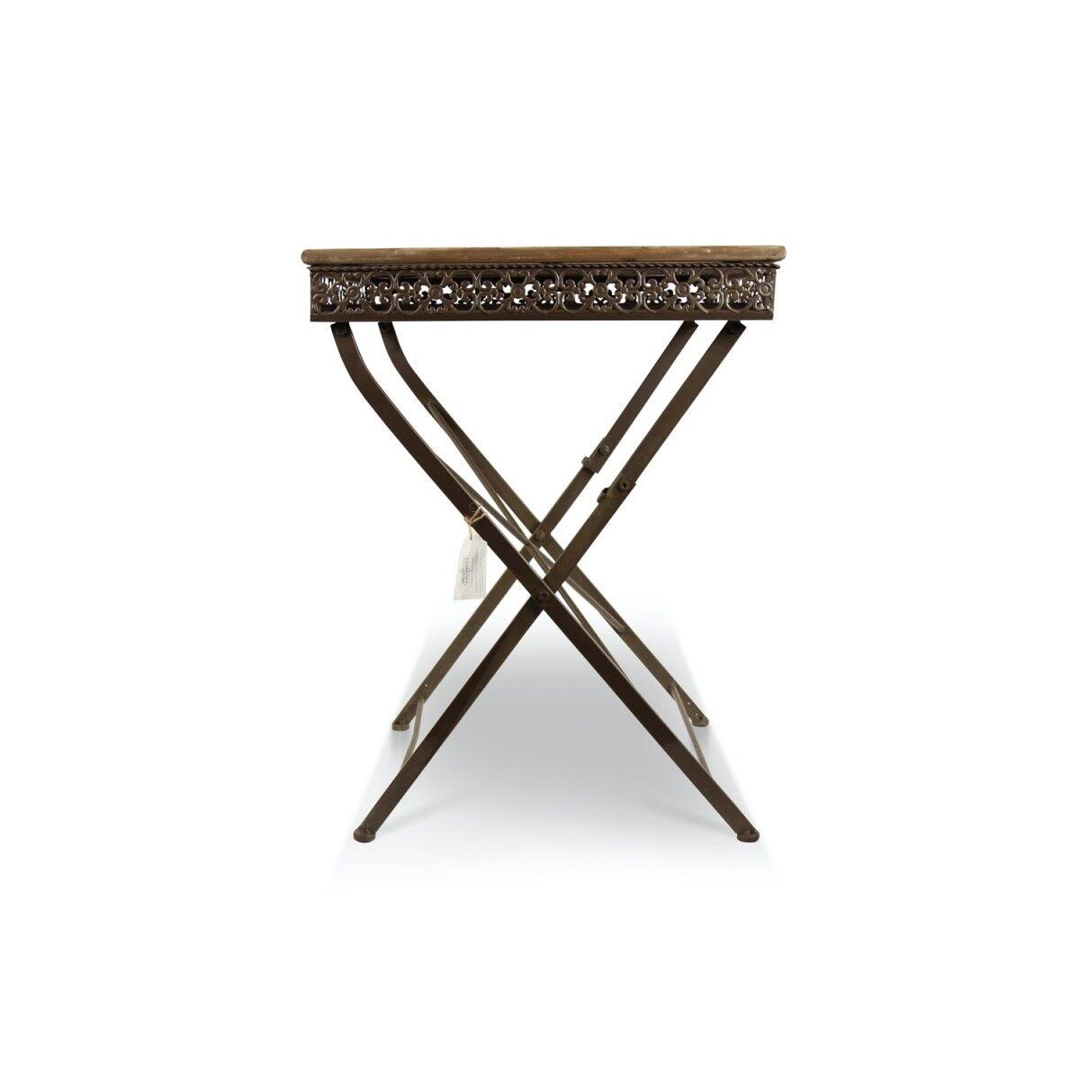Table Bois Fer Forgé Marron 61x61x81.5cm