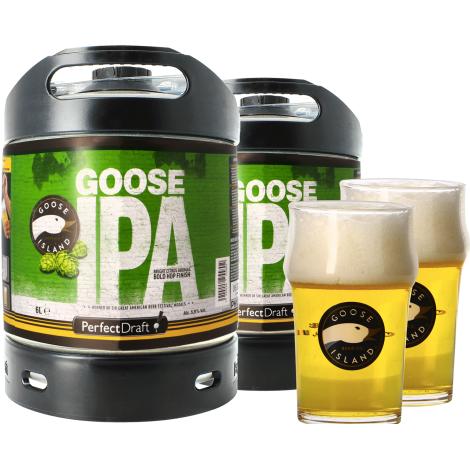 Goose Island Beer Company Pack 2 Fût de Bières 6L Goose Island Ipa + 2 Verres Goose Island - 25 Cl   Goose Island Beer Company   Saveur Bière