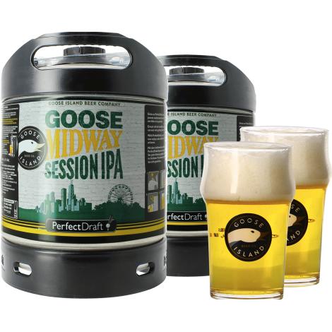 Goose Island Beer Company Pack 2 Fût de Bières 6L Goose Midway Session Ipa + 2 Verres Goose Island - 25 Cl   Goose Island Beer Company   Saveur Bière