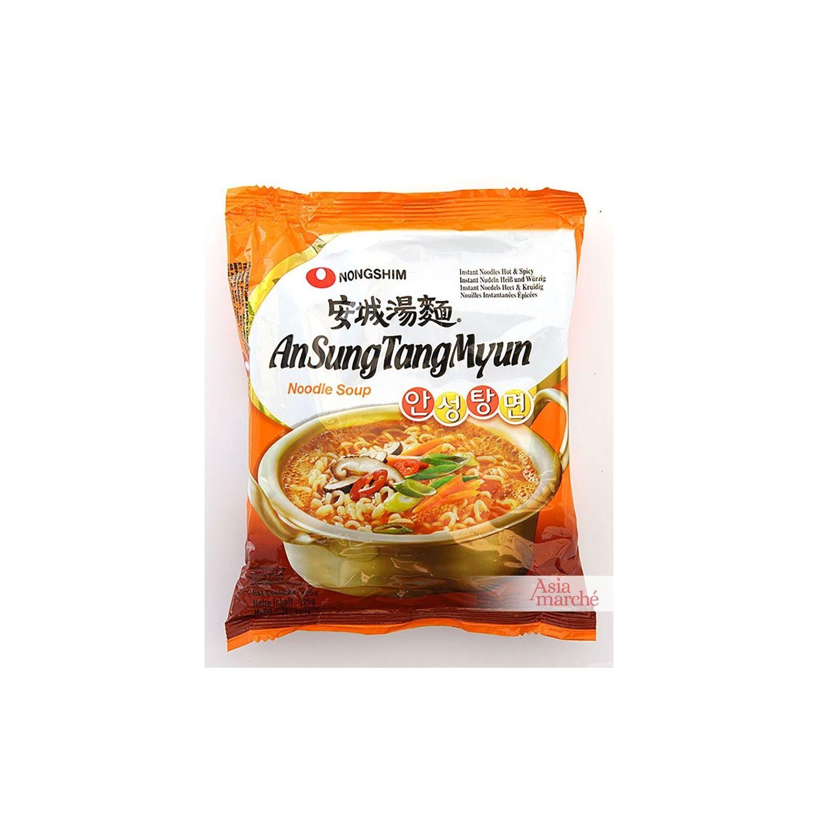 Asia Marché Soupe Coréenne de nouiles AnSungTangMyun 125g Nongshim Lot de 10