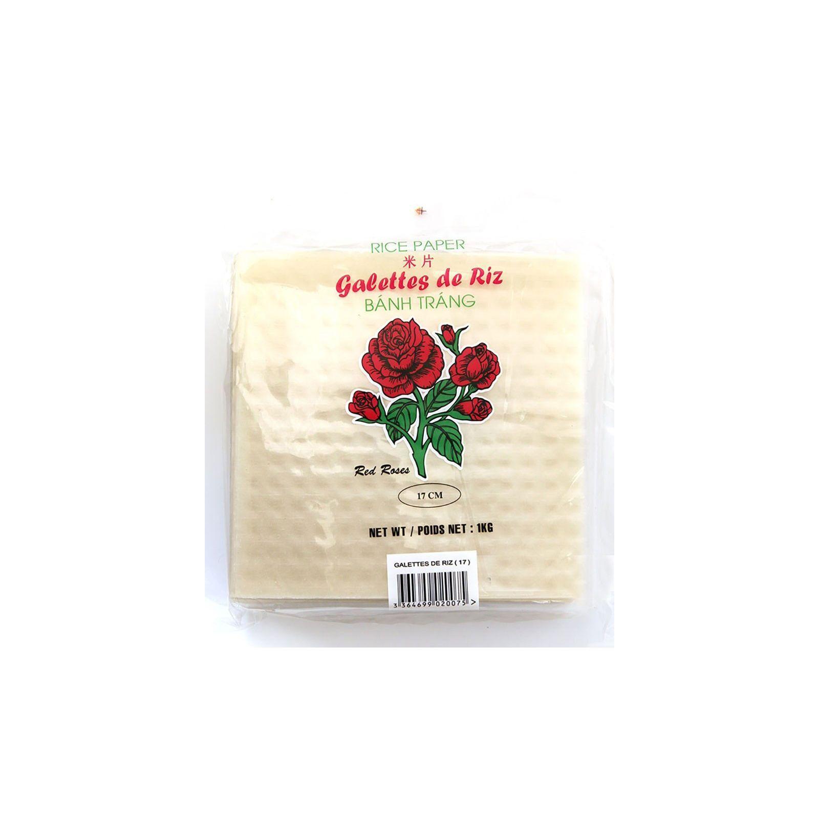 Asia Marché Galettes, Feuilles de riz carré 17 cm 1kg Red Roses