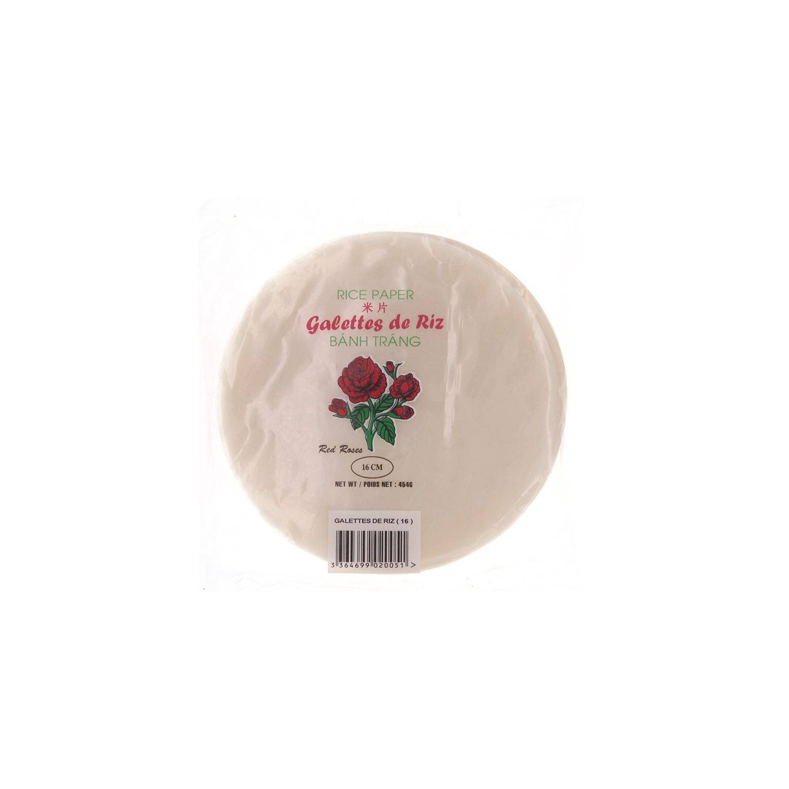 Asia Marché Galettes, Feuilles de riz Red Roses 454g 22cm