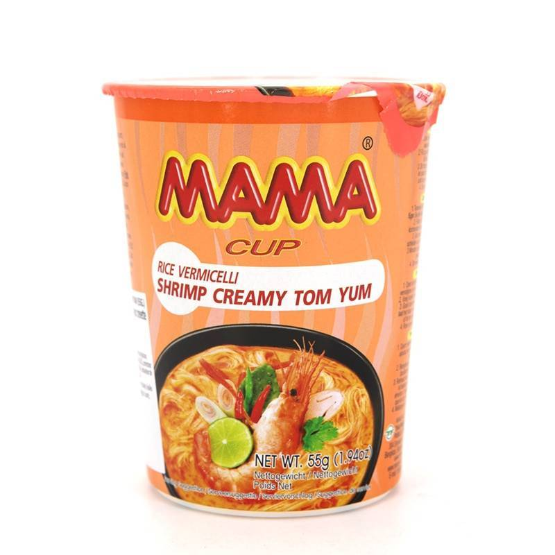 Asia Marché Soupe de pâte de riz à la crevette Tom Yum Creamy en bol de 55g Mama