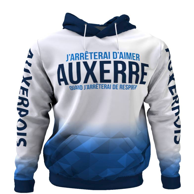 Tribune FC Sweat à capuche J\'arrêterai d\'aimer Auxerre quand j\'arrêterai de respirer - Supporters Auxerre - Tribune FC