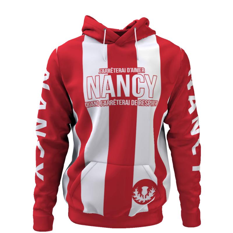 Tribune FC Sweat à capuche J\'arrêterai d\'aimer Nancy quand j\'arrêterai de respirer - Supporters Nancy - Tribune FC