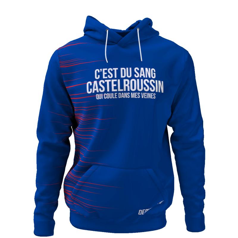 Tribune FC Sweat à capuche C\'est du sang Castelroussin qui coule dans mes veines - Supporters Châteaurouxu - Tribune FC