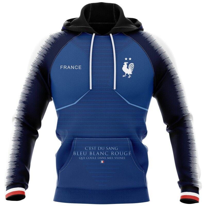 Tribune FC Sweat à capuche C\'est du sang bleu blanc rouge qui coule dans mes veines - Supporters France - Tribune FC