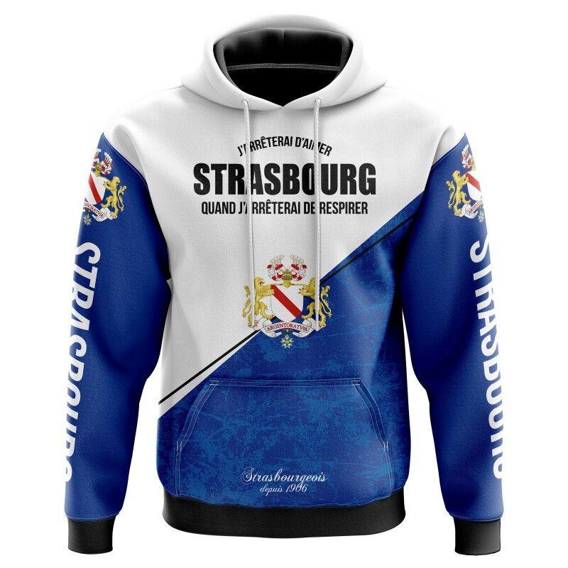 Tribune FC Veste à capuche J\'arrêterai d\'aimer Strasbourg quand j\'arrêterai de respirer - Supporters Strasbourg - Tribune FC