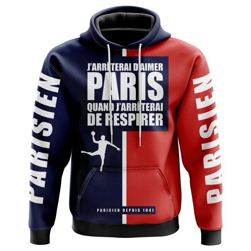 Veste à capuche J'arrêterai d'aimer Paris quand j'arrêterai de respirer - Supporters Paris Handball