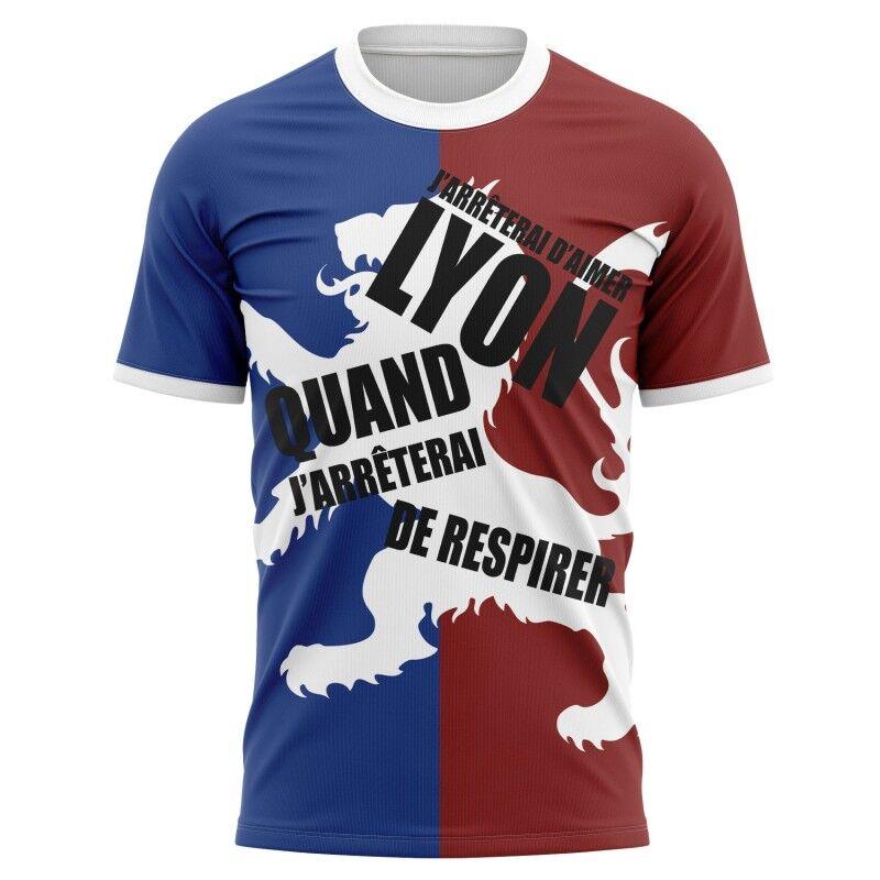 Tribune FC T-shirt J'arrêterai d'aimer Lyon quand j'arrêterai de respirer - Supporters Lyon