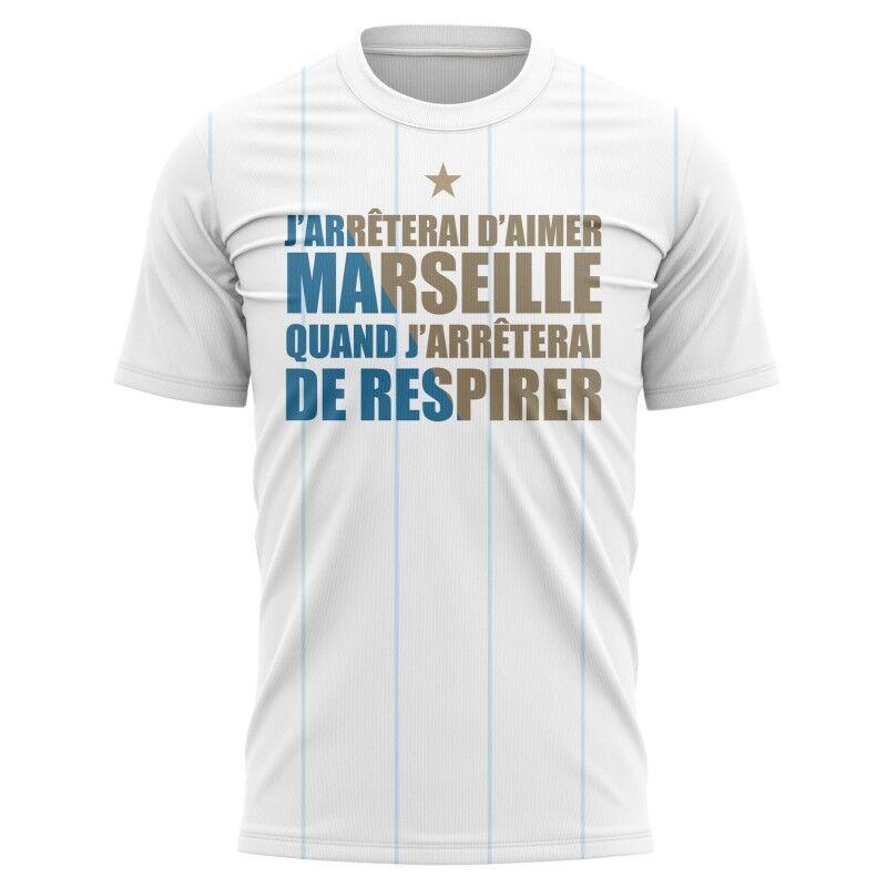 Tribune FC T-shirt J'arrêterai d'aimer Marseille quand j'arrêterai de respirer - Supporters Marseille
