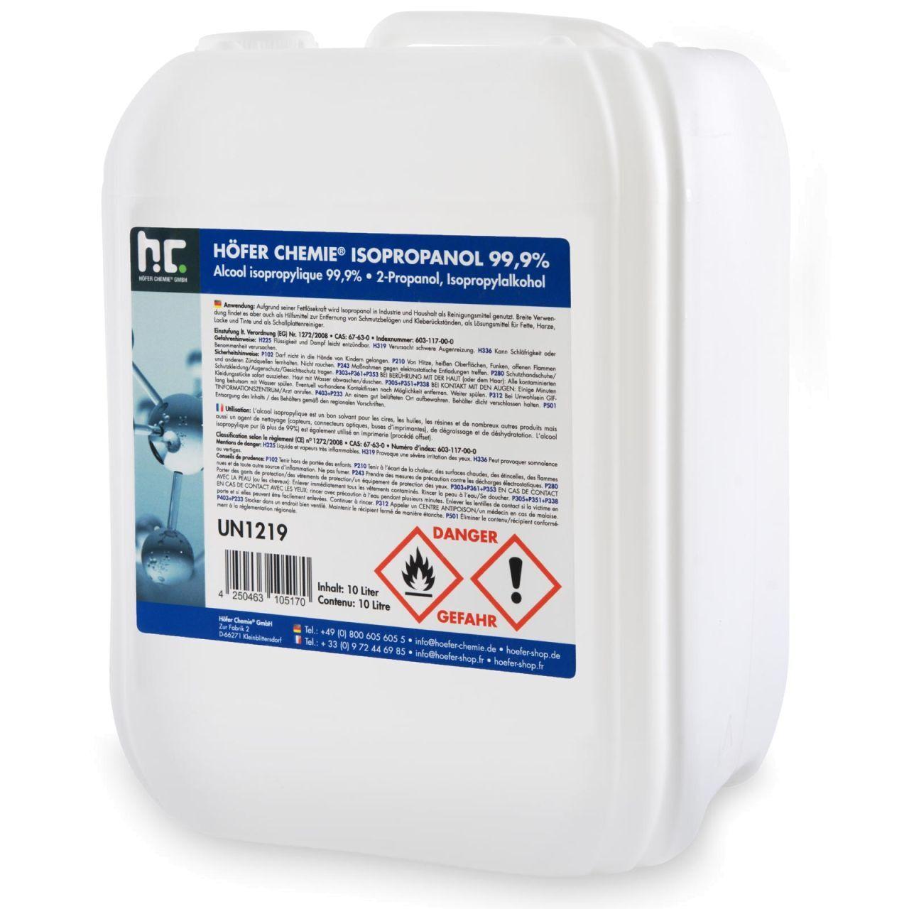 Höfer Chemie 10 l Alcool isopropylique 99,9 % (1 x 10 l)
