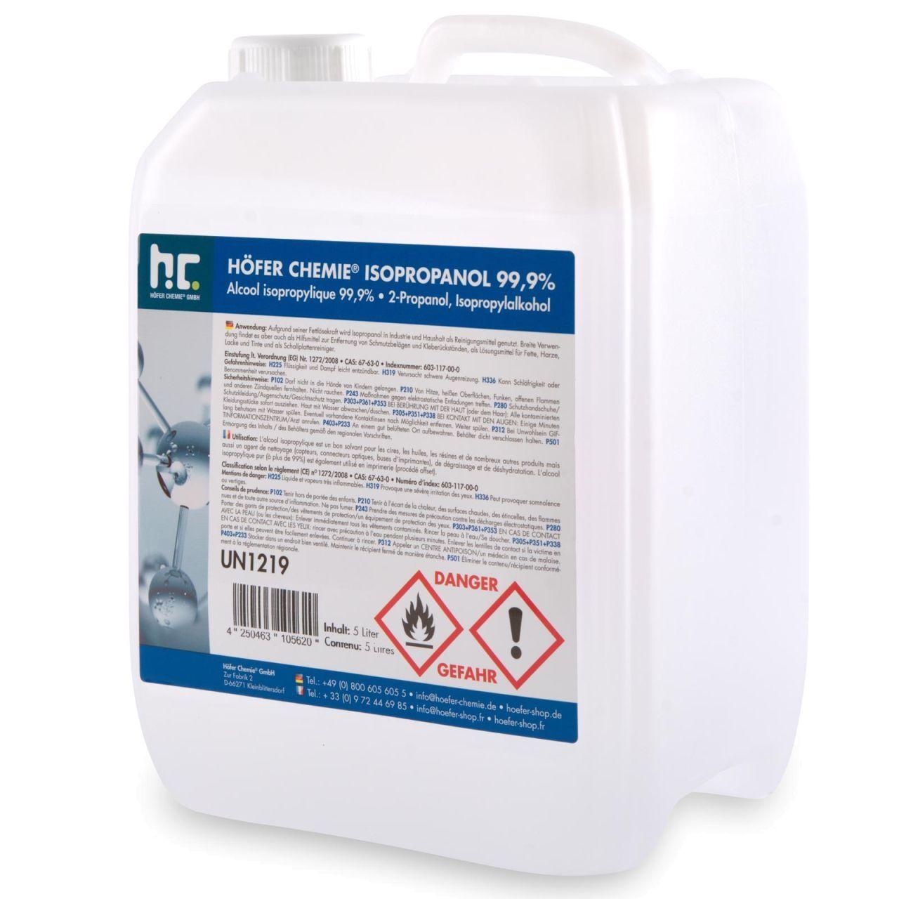 Höfer Chemie 10 l Alcool isopropylique 99,9 % (2 x 5 l)